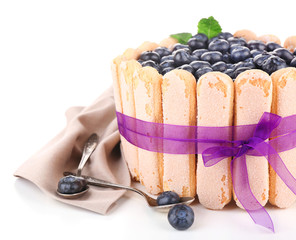 Tasty cake Charlotte with blueberries, isolated on white