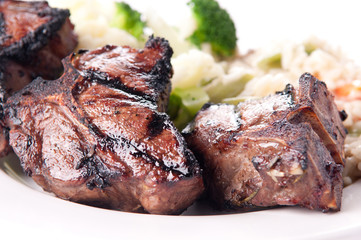 bbq lamb chops grilled to perfection with vegetable risotto
