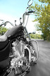 canvas print picture - Motorcycle detail with gasoline tank Chrome motorcycle details