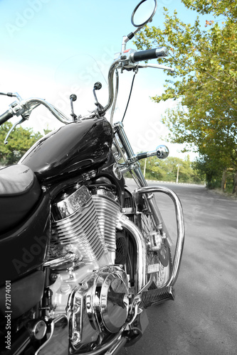 canvas print picture Motorcycle detail with gasoline tank Chrome motorcycle details