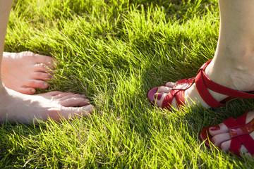 Contrasting women's feet