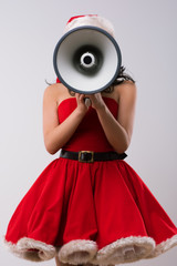 Christmas woman with a megaphone
