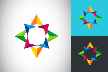 star abstract color circle logo vector