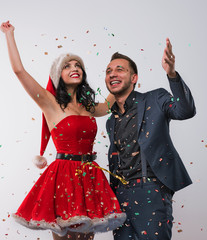 Man and woman celebrating christmas