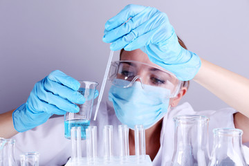 Laboratory assistant making medical test in laboratory