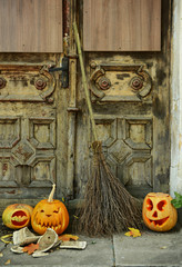 Pumpkin and broom for holiday Halloween