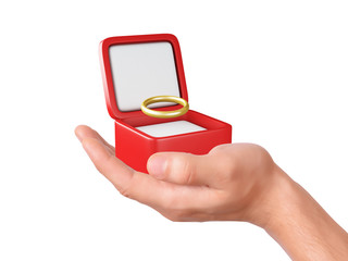 hand hold a gift box with wedding ring