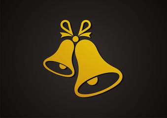 bell icon christmas logo vector