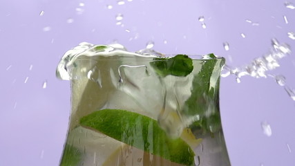 Lemonade and Ice Cubes Close-up