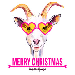 Merry Christmas card with watercolor portrait of hipster goat.