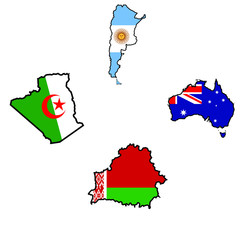Map in colors of Algeria,Argentina,Australia,Belarus