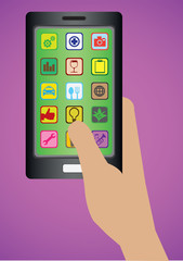 Hand Holding Handphone with Apps Icons Vector Illustration