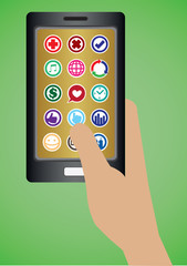 Hand Holding Mobile Phone with Round Apps Icons