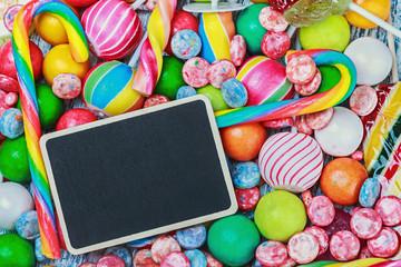 blackboard for writing greetings on a lollipop