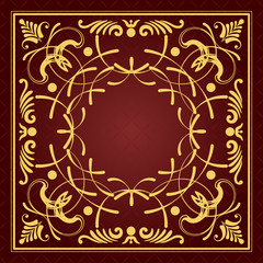 Gold ornament on brown background. Can be used as invitation car