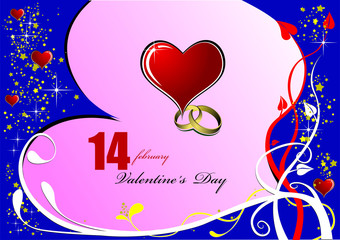 Valentine`s Day  Greeting Card. Vector illustration. Invitation