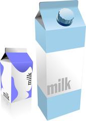 Dairy produces collection in carton box. Milk. Vector