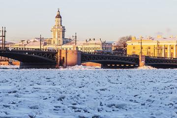 Vasilyevsky island and palace bridge early winter morning in St.