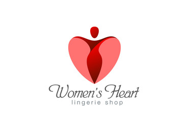 Lingerie shop logo design vector. Heart Valentine day