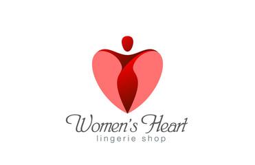 Lingerie shop logo design vector. Heart Valentine day