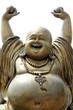 Leinwanddruck Bild - Gold Happy Buddha - in temple