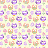 Seamless vector background owls and flowers