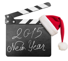 Clapper board with 2015 new year text isolated