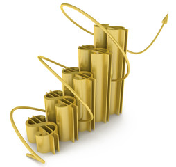3D Raising Business Dollar Graph