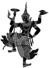 Drawing of Narayana silhouetted on white background