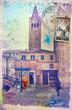 Towerbell in Venice vintage postcard