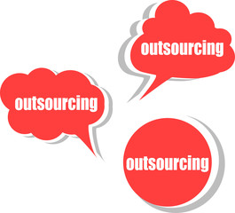 outsourcing. Set of stickers, labels, tags. Business banners