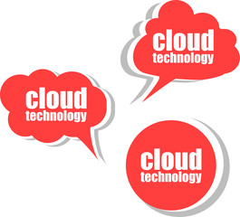 cloud technology. Set of stickers, labels, tags. Business