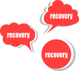 recovery. Set of stickers, labels, tags. Business banners