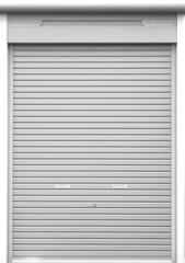 Illuminated grunge metallic roller white shutter door