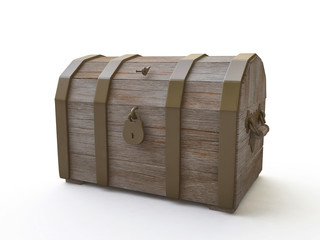 Wooden Chest in 3D
