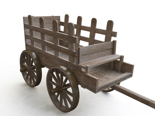 Wooden Cart in 3d