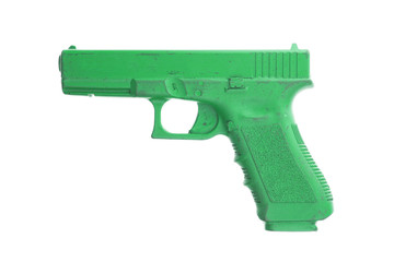 Dirty green training gun isolated on white