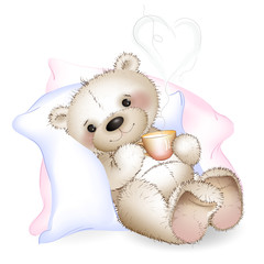 A bear lying in bed on pillows