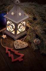 Christmas lantern with decorations
