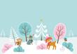Christmas woodland landscape
