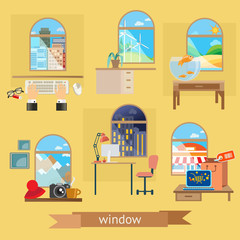 Window, set of illustrations flat design