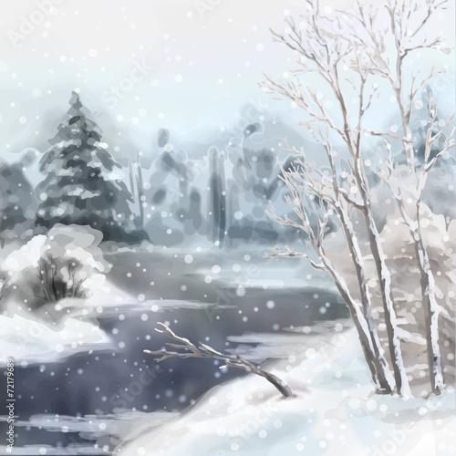 zimowy-cyfrowy-krajobraz-akwarela