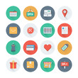 Pixel perfect shopping and market flat icons