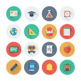 Fototapety Pixel perfect education items flat icons set