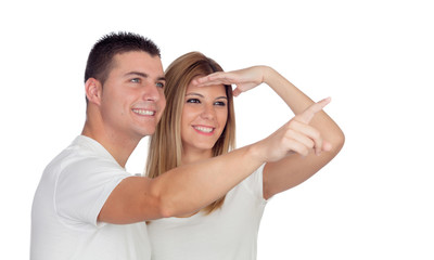 Loving couple looking at side