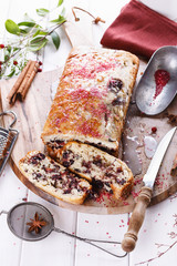 Cranberry loaf over white wooden background