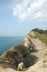 Stair Hole rock formation near Lulworth Cove in Dorset