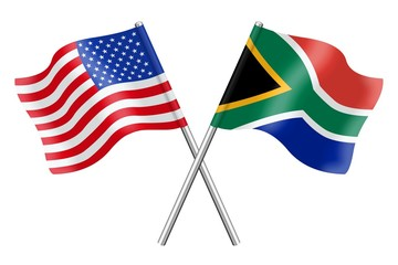 Flags: USA and South Africa