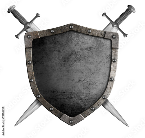 Leinwandbild Motiv coat of arms medieval knight shield and sword isolated