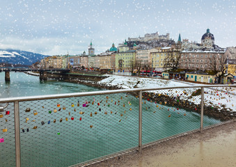 Love locks in Salzburg Austria